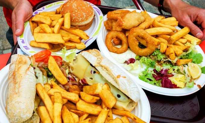 Исключение всех видов пищи, стимулирующих выработку пищеварительных ферментов, раздражающих слизистую желудка: жирной, острой