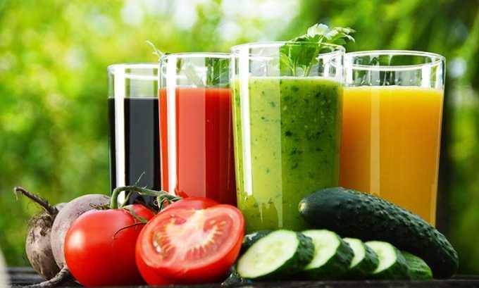 Полезное воздействие оказывают овощные соки