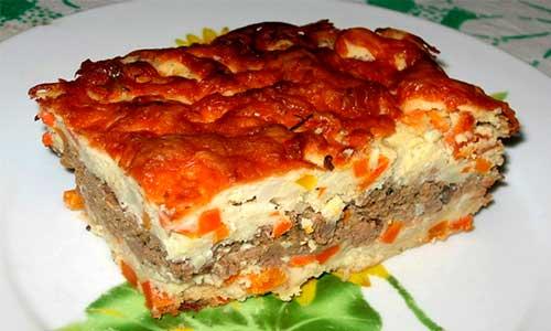 Картофельная запеканка при панкреатите готовится с говяжьем фаршем