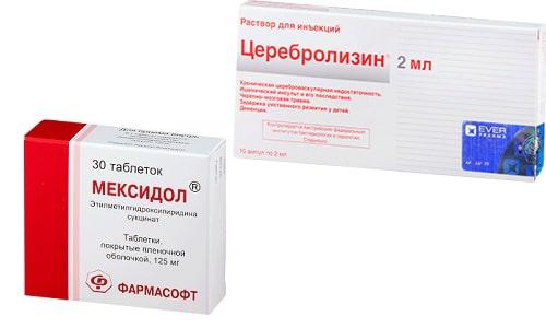 Мексидол и Церебролизин принимают при нарушении мозгового кровообращения, сопровождающегося мигренью, головокружением и расстройством памяти