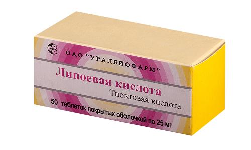 Суточная доза препарата Липоевая кислота - 600 мг, разделенных на 2 приема